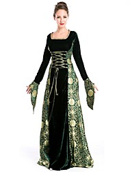 cheap -Medieval Costume Women's Masquerade Green / Black Vintage Cosplay Polyester Long Sleeve Bell Sleeve Floor Length