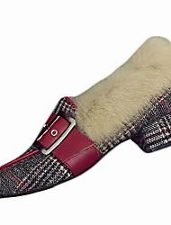 Feminino Sapatos Couro Ecológico Inverno Outono Conforto Mocassins e Slip-Ons Salto Robusto Ponta Redonda para Casual Preto Vermelho