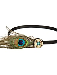 cheap -The Great Gatsby Flapper Headband 1920s Cyan Feather Cosplay Accessories Masquerade