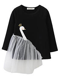 cheap -Girl's Casual/Daily Going out Solid Floral Swan Dress, Cotton Spring Fall Long Sleeves Cute Active Cartoon Black Blushing Pink