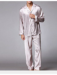 cheap -Men's Suits Pajamas,Solid Polyester Khaki Gray