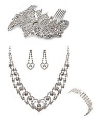 cheap -Women's Rhinestone Imitation Diamond Heart Jewelry Set Body Jewelry 1 Necklace 1 Ring Earrings - Fashion European Heart Hair Combs Bridal