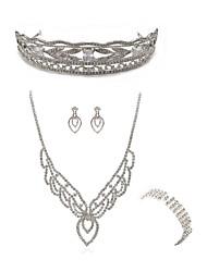 cheap -Women's Tiaras Bridal Jewelry Sets Rhinestone Fashion European Wedding Party Imitation Diamond Alloy Body Jewelry 1 Necklace 1 Ring
