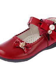 preiswerte -Mädchen Schuhe PU Winter Herbst Schuhe für das Blumenmädchen Komfort Flache Schuhe für Normal Schwarz Rot Rosa