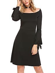 abordables -Gaine Robe Femme Sports Actif,Couleur Pleine Bateau Au dessus du genou Manches longues Polyester Toute Saison Taille Normale Elastique