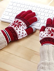 cheap -Unisex Knitwear Wrist Length Fingertips,Work Casual Snowflake Winter Red Brown