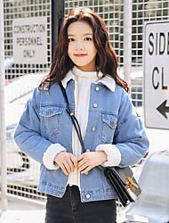 cheap -Women's Casual/Daily Street chic Winter Fall Denim Jacket,Solid Shirt Collar Long Sleeve Short Cotton Lamb Fur