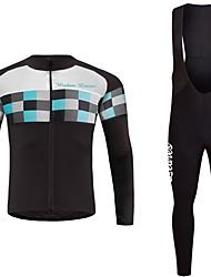 economico -Wisdom Leaves Manica lunga Maglia con salopette lunga da ciclismo - Verde Blu Lilla Bicicletta Maglietta/Maglia Set di vestiti
