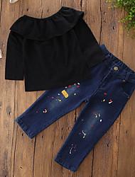 abordables -Ensemble de Vêtements Fille Quotidien Vacances Couleur Pleine Galaxie Coton Polyester Printemps Toutes les Saisons Décontracté Actif Punk