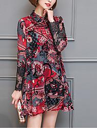 cheap -Women's Going out Street chic Spring Shirt,Print Shirt Collar Long Sleeve Polyester Medium