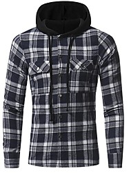 cheap -Men's Sports Work Casual Punk & Gothic All Seasons T-shirt,Solid Hooded Long Sleeve Cotton