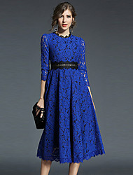 cheap -Women's Going out A Line Dress - Solid Colored Lace