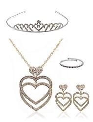 cheap -Women's Rhinestone Imitation Diamond Heart Jewelry Set Body Jewelry / 1 Necklace / Earrings - Fashion / European Gold Tiaras / Bridal