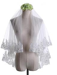 cheap -Two-tier Classical Lace Applique Edge Wedding Veil Elbow Veils 53 Laces Paillette Lace Tulle