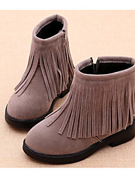 cheap -Girls' Shoes Nubuck leather Winter Fall Comfort Fashion Boots Boots Booties/Ankle Boots for Casual Red Gray Black