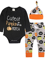 cheap -Baby Unisex Daily Going out Print Clothing Set, Cotton All Seasons Simple Casual Long Sleeves Black