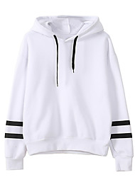 cheap -Women's Casual/Daily Hoodie Striped Hooded Without Lining Micro-elastic Cotton Long Sleeve Winter Fall