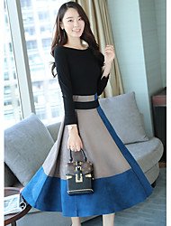cheap -Women's Daily Casual Winter Set Skirt Suits,Color Block Round Neck Long Sleeve Polyester