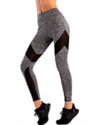 cheap -Women's Sporty Polyester Medium Stitching Legging,Patchwork Gray Black