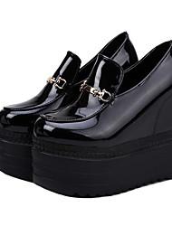 Feminino Sapatos Couro Ecológico Verão Conforto Sandálias Caminhada Creepers Dedo Aberto para Branco Preto titânio