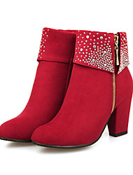 cheap -Women's Shoes Suede Winter Fall Comfort Novelty Bootie Boots Chunky Heel Pointed Toe Booties/Ankle Boots Rhinestone for Wedding Party &