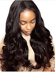 cheap -Human Hair Lace Front Wig Brazilian Hair Wavy Body Wave With Baby Hair 130% Density Unprocessed 100% Virgin Natural Hairline Short Medium