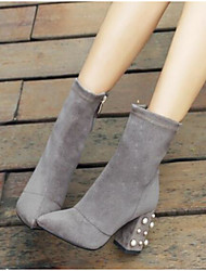 Feminino Sapatos Couro Ecológico Inverno Conforto Botas Salto Robusto Dedo Apontado Dedo Fechado Botas Curtas / Ankle para Casual Preto