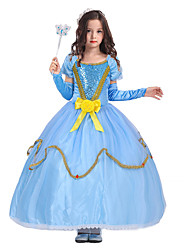 cheap -Princess Fairytale One Piece Dress Party Costume Kid Christmas Birthday Masquerade Festival / Holiday Halloween Costumes Blue Solid Color