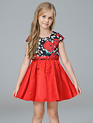 cheap -Girl's Daily Holiday Floral Dress,Polyester Spring Summer Sleeveless Cute Princess Red