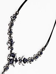 cheap -Women's Crystal Y Necklace  -  Crystal Flower Classic, Fashion Dark Blue Necklace For Party, Ceremony