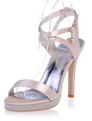 abordables -Femme Chaussures Satin Printemps / Eté Escarpin Basique Sandales Talon Aiguille Bout ouvert Boucle Rose / Champagne / Ivoire
