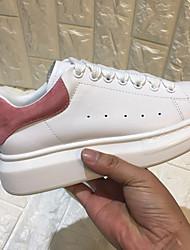 Недорогие -Для женщин Обувь Натуральная кожа Весна Осень Удобная обувь Кеды На плоской подошве Круглый носок для Повседневные Черный Лиловый Синий