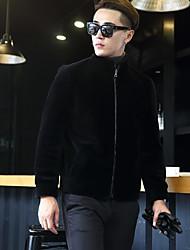 Pánské Jednobarevné Jdeme ven Jednoduchý Bunda-Zima Podzim Vlna Bavlna Akryl Polyester Stojáček Dlouhý rukáv Standardní