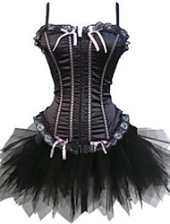 abordables -Lacet Corset Ensemble Corset Femme Couleur Pleine - Moyen Polyester Noir