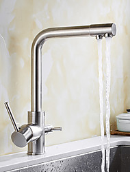 cheap -Contemporary Standard Spout Vessel Rotatable Ceramic Valve Two Handles One Hole Nickel Brushed, Kitchen faucet
