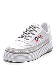 cheap -Women's Shoes PU Spring Fall Comfort Athletic Shoes Flat Heel for Outdoor White Black Gray