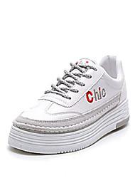 economico -Da donna Scarpe PU (Poliuretano) Primavera Autunno Comoda scarpe da ginnastica Piatto per Bianco Nero Grigio