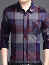 Недорогие -Для мужчин Повседневные Зима Рубашка Рубашечный воротник,Уличный стиль Гусиная лапка Длинные рукава,Хлопок,Средняя