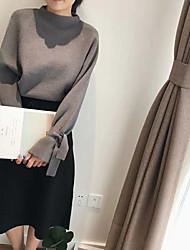 Damer Simple Afslappet/Hverdag Normal Pullover Ensfarvet,Rund hals Langærmet Polyester Alle årstider Solid Elastisk