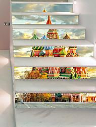 abordables -Paysage Architecture Stickers muraux Autocollants muraux 3D Autocollants muraux décoratifs, Vinyle Décoration d'intérieur Calque Mural Mur