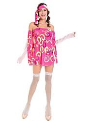 economico -Hippie Anni '70 Costume Per donna Stile Carnevale di Venezia Fucsia Vintage Cosplay Poliestere Manica lunga Lolita Corto / mini