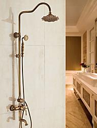 Antique Centerset Handshower Included Ceramic Valve Single Handle Two Holes Antique Copper , Shower Faucet
