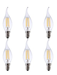 economico -GMY® 6pcs 3.5W 350lm E12 Lampadine LED a incandescenza CA10 4 Perline LED COB Oscurabile Decorativo Luce LED Bianco caldo 110-130V