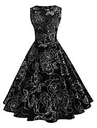 economico -Per donna Vintage Swing Vestito - Con stampe Al ginocchio Nero