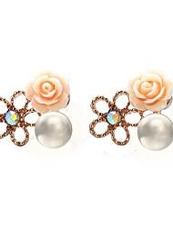economico -Per donna Orecchini a bottone , Florale Semplice Dolce Perle finte Lega Fiore decorativo Gioielli