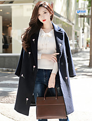 cheap -DABUWAWA Women's Going out Casual/Daily Simple Street chic Winter Coat,Solid Floral Print Peaked Lapel Long Sleeve Long Wool Polyester Embroidered