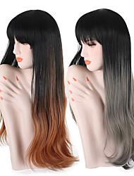 Недорогие -Парики из искусственных волос Волнистый Темные корни Волосы с окрашиванием омбре С чёлкой Без шапочки-основы Жен. Серый Коричневый Черный
