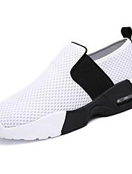 baratos -Homens sapatos Borracha Primavera Outono Conforto Tênis Caminhada Botas Curtas / Ankle Cadarço de Borracha para Ao ar livre Branco Preto