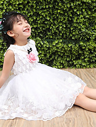 cheap -Girl's Daily Going out Solid Embroidery Jacquard Dress,Cotton Polyester Summer Sleeveless Cute Princess Blushing Pink White