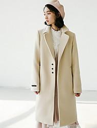 preiswerte -Damen Solide Freizeit Alltag Trench Coat,Quadratischer Ausschnitt Winter Langärmelige Lang Baumwolle Acryl Rüsche